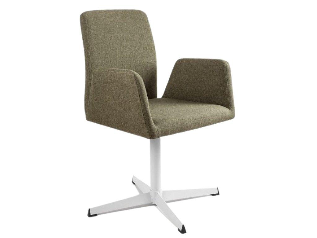 Zelená konferenční židle Bela s pevnou kovovou základnou