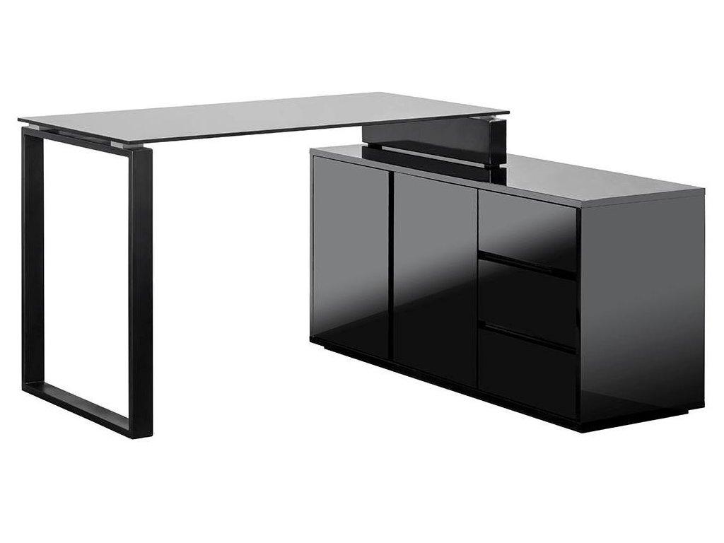 Černý designový černý kancelářský set Loft se skříňkou a stolem
