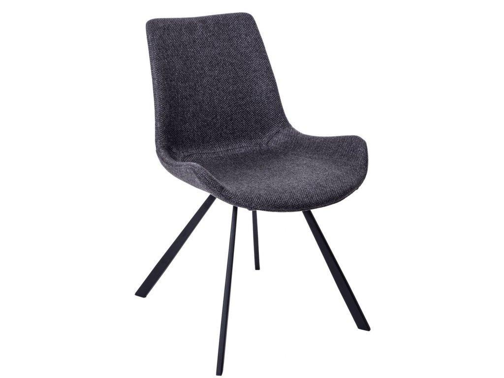 Tmavě šedá polstrovaná židle Skip s kovovou podnoží