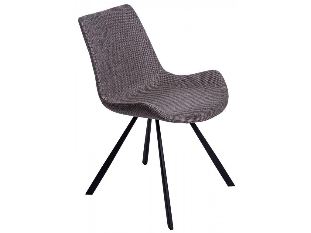 Šedá polstrovaná židle Skip s kovovou podnoží