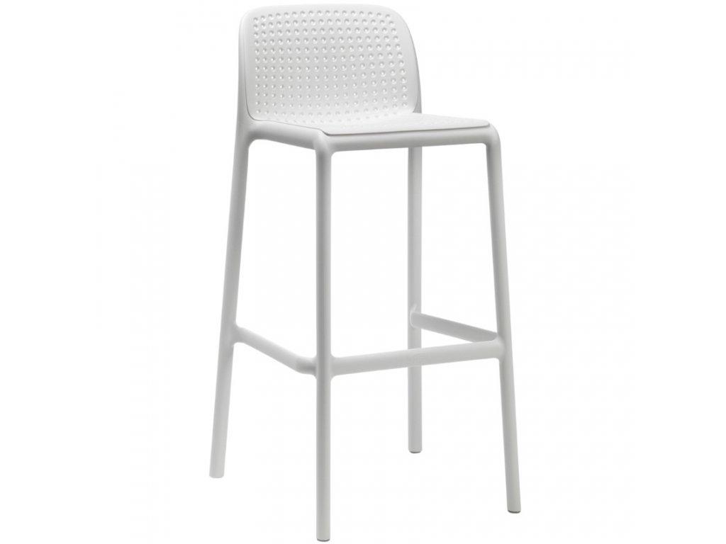 Bílá plastová barová židle Loft