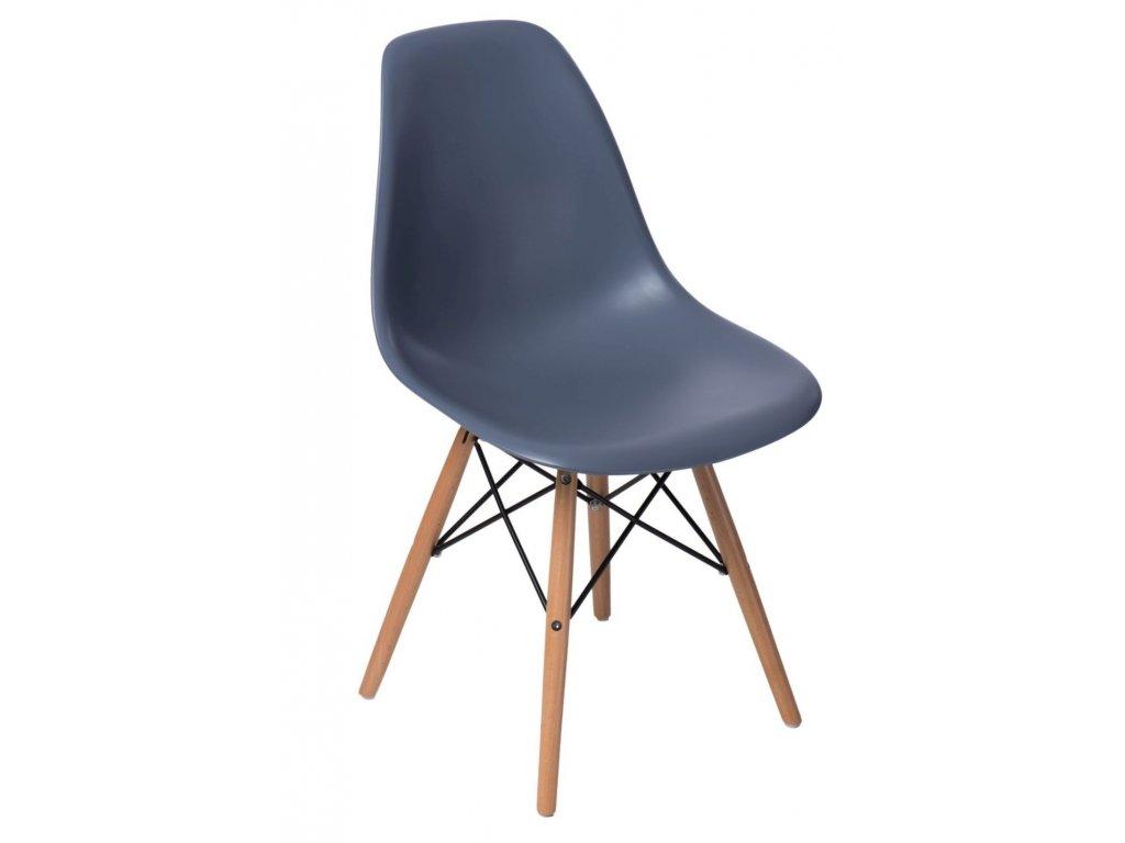 Tmavě šedá plastová židle DSW s bukovou podnoží