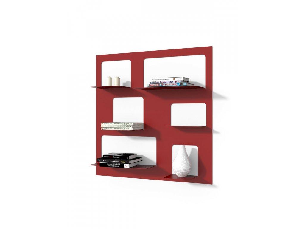 Designová knihovna Marina 3, červená