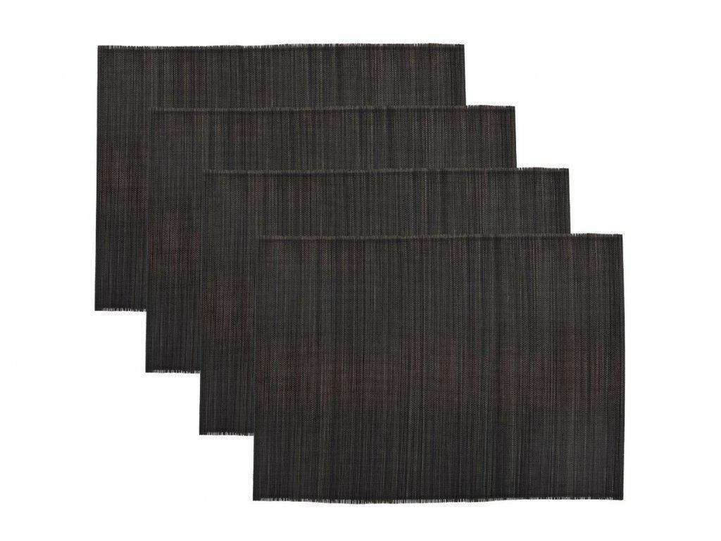Set čtyř černých bambusových prostírání Bamb 45 x 33 cm