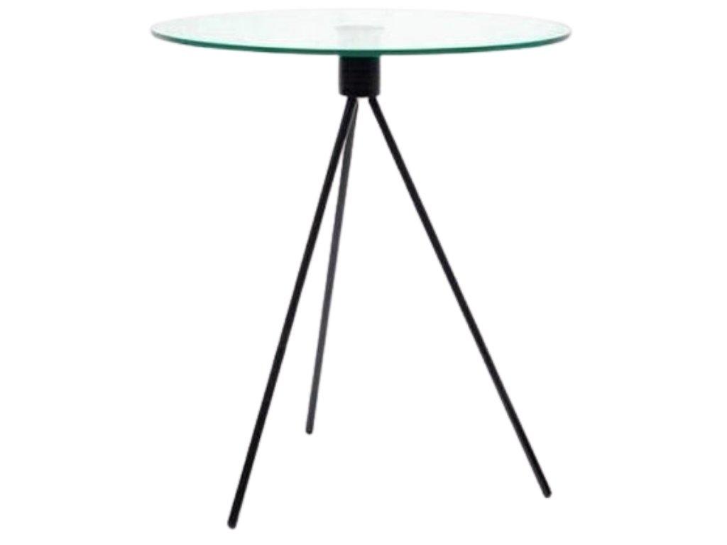 Skleněný odkládací stolek Bohem 50 cm s černou podnoží
