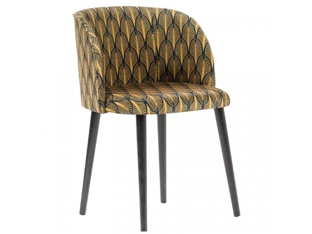 Černo zlatá sametová jídelní židle MICADONI NAWAJO se vzorem