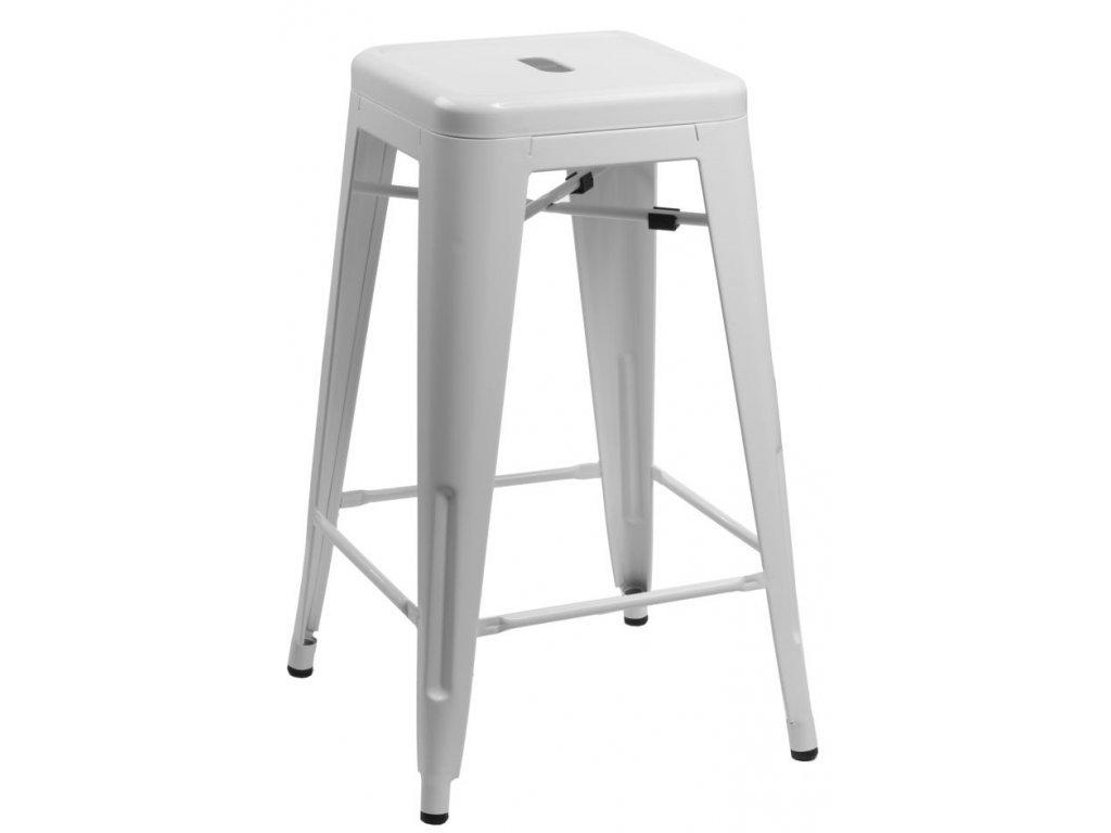 Bílá kovová barová židle Tolix 75