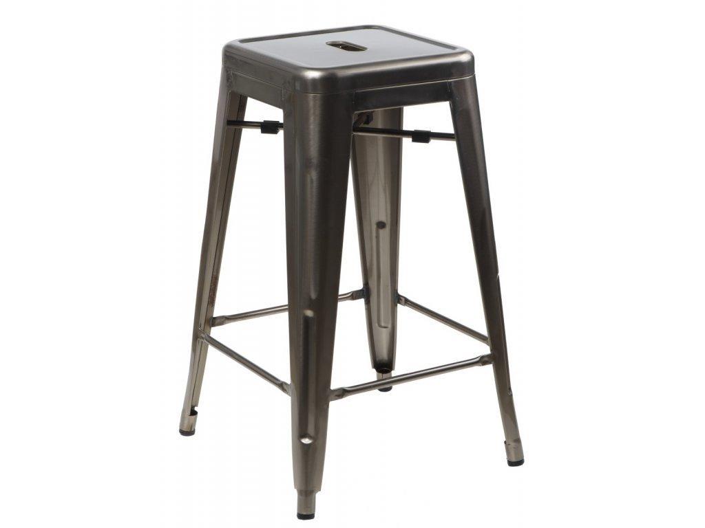 Stříbrná metalická kovová barová židle Tolix 75 cm