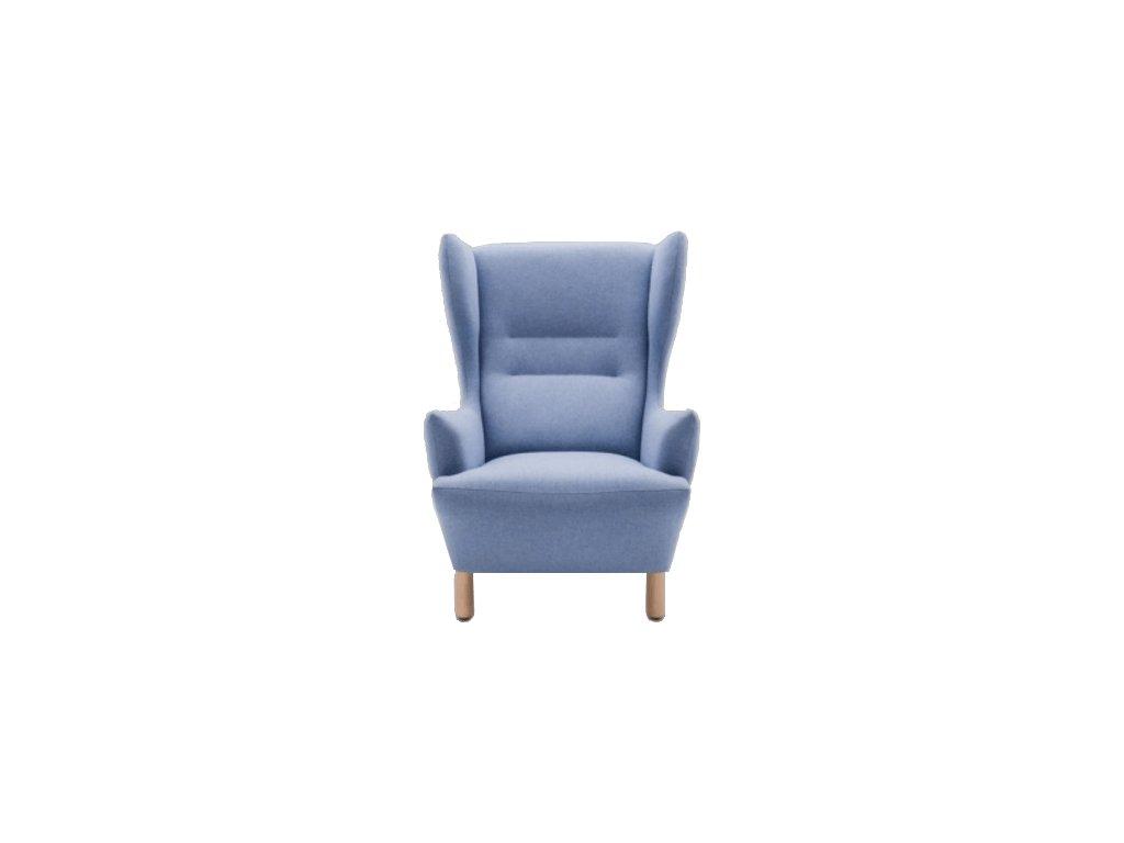 Bledě modré látkové křeslo MARBET LUNGO