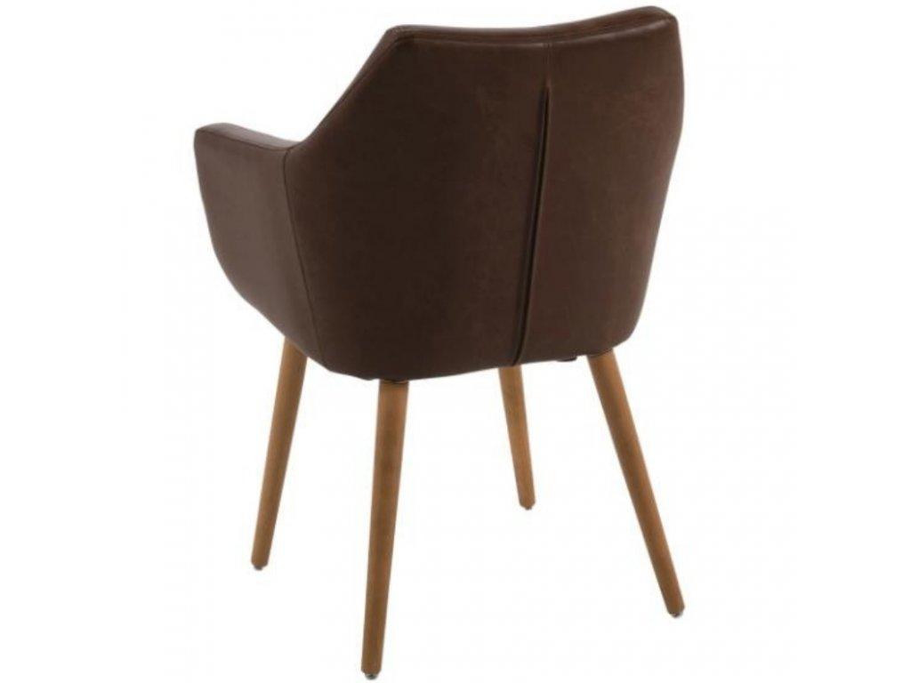 Čokoládová koženková židle Marte s područkami