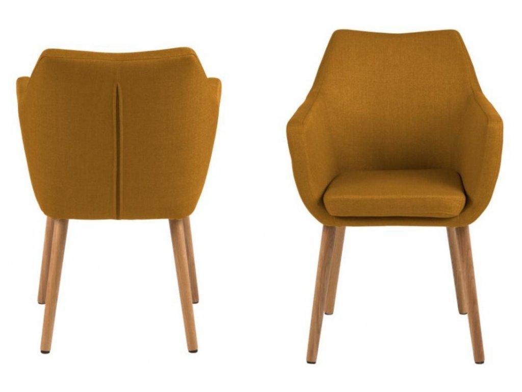 Žlutá látková židle Marte s područkami