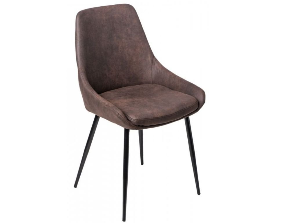 Tmavě hnědá koženková jídelní židle Sofia
