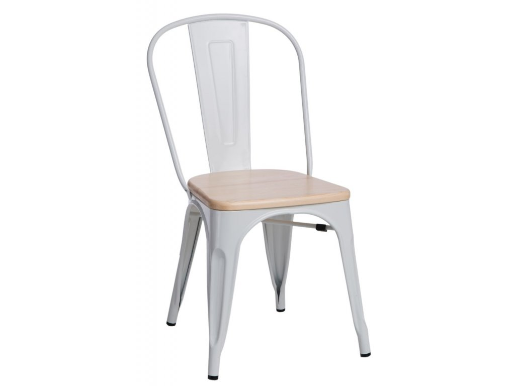 Jídelní židle Tolix 45, bílá/borovice