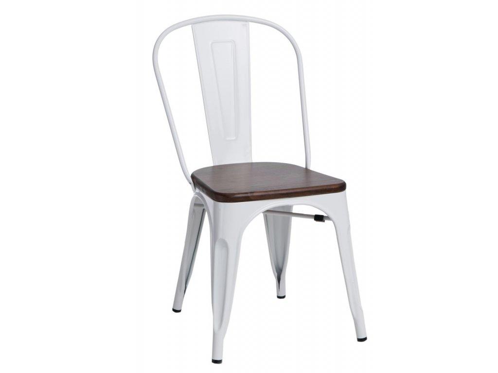 Bílá kovová jídelní židle Tolix s tmavým borovicovým sedákem
