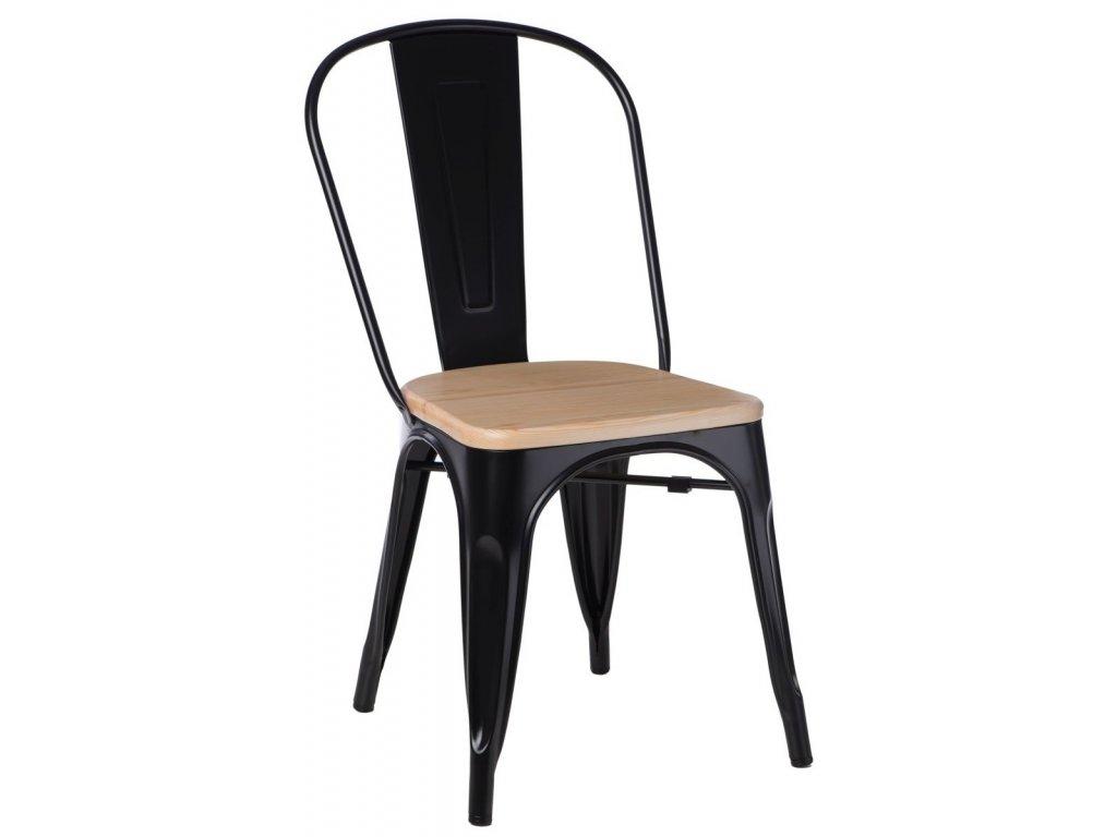 Černá kovová jídelní židle Tolix 45 s borovicovým dřevěným sedákem