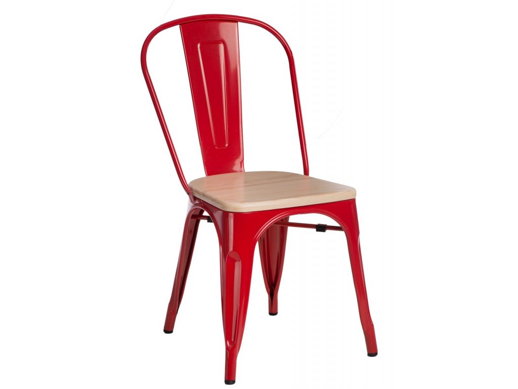 Červená kovová jídelní židle Tolix s borovicovým sedákem