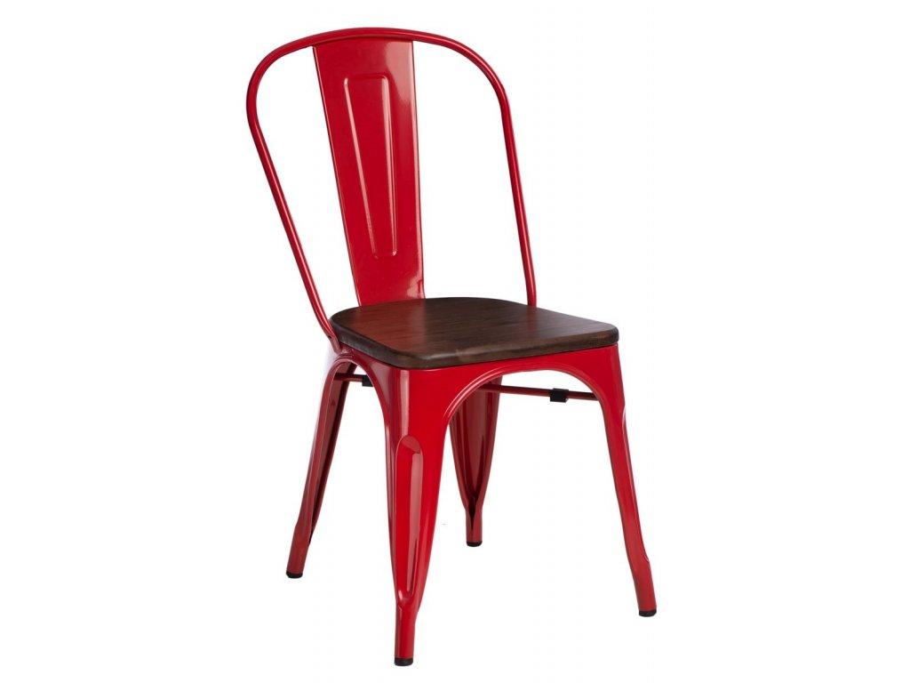 Červená kovová jídelní židle Tolix s tmavým borovicovým sedákem