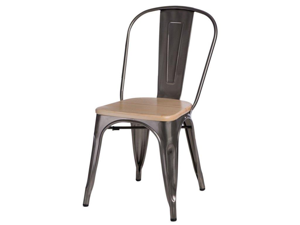 Jídelní židle Tolix 45, metalická/borovice