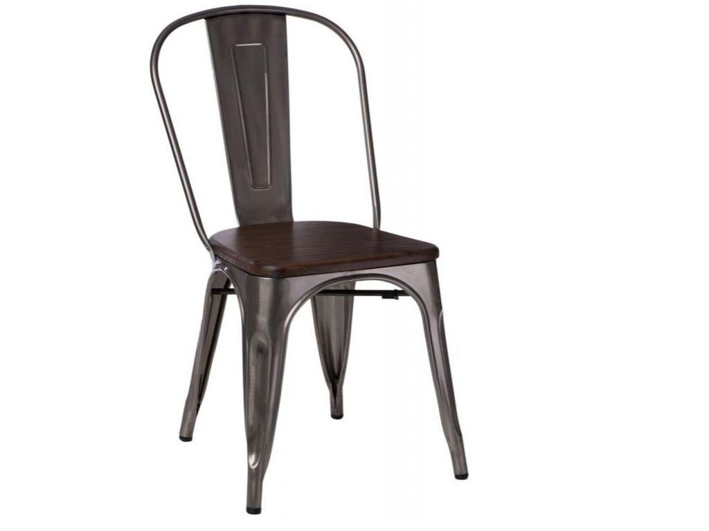 Stříbrná metalická kovová jídelní židle Tolix s tmavým borovicovým sedákem