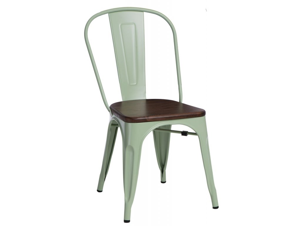 Jídelní židle Tolix 45, tmavě zelená/ořech