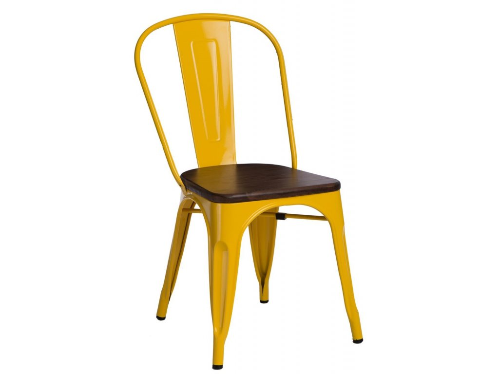Žlutá kovová jídelní židle Tolix s tmavým borovicovým sedákem