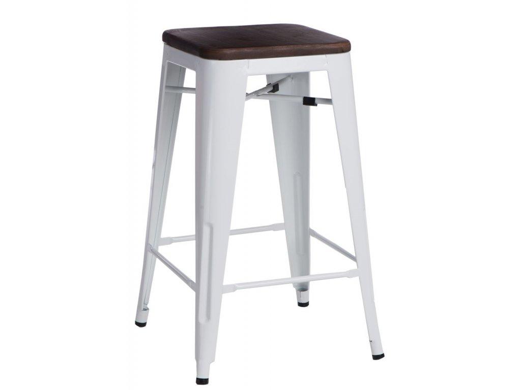 Designová barová židle Tolix 75 s dřevěným sedákem