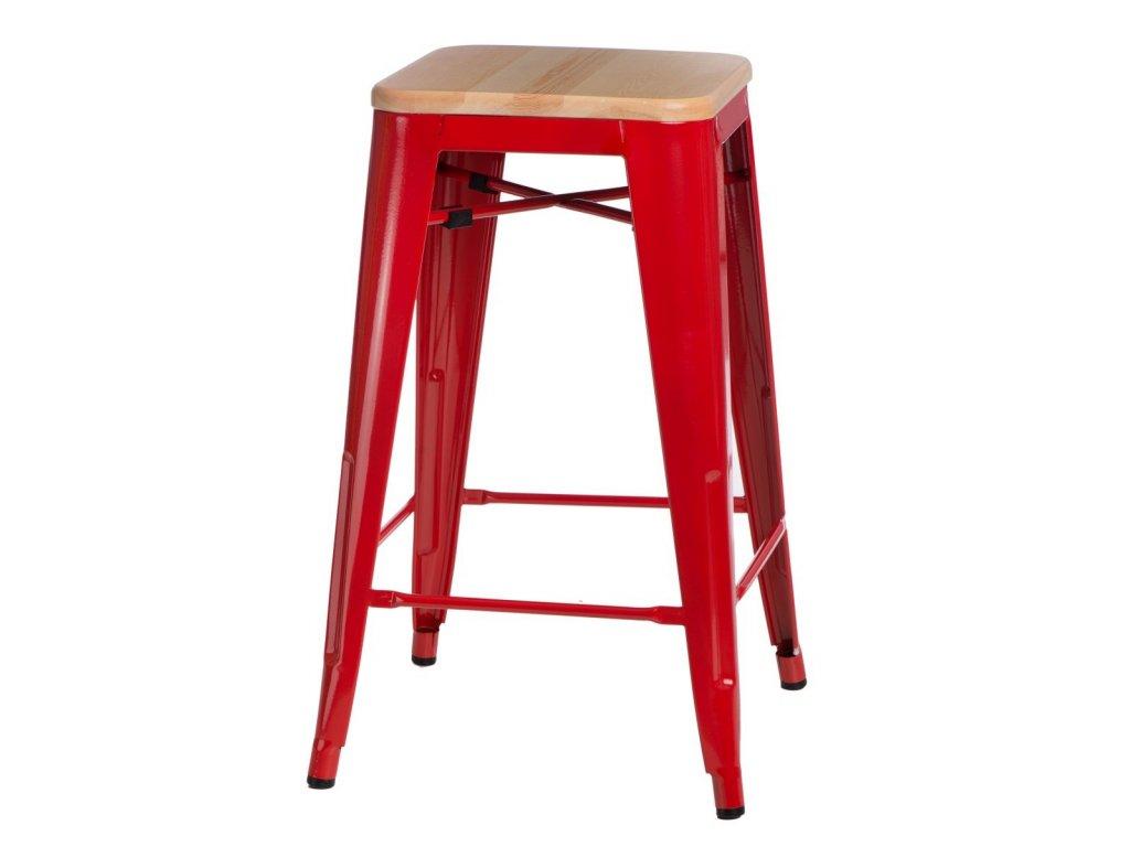 Červená barová židle Tolix 75 s dřevěným borovicovým sedákem