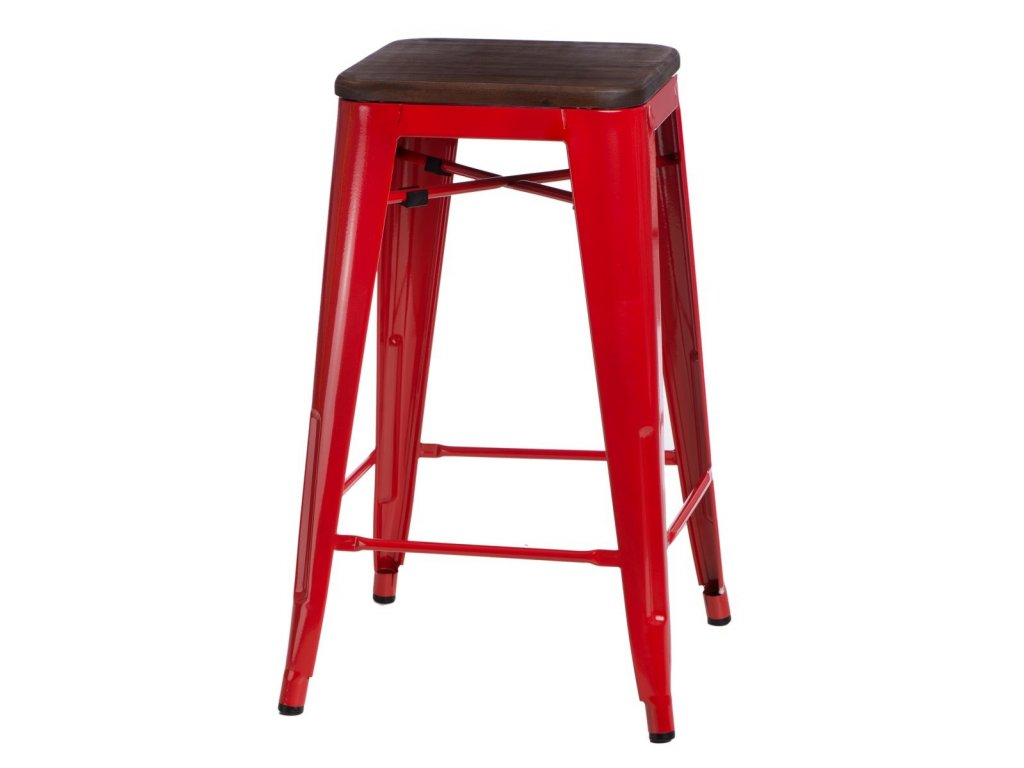 Designová červená barová židle Tolix 75 s dřevěným sedákem