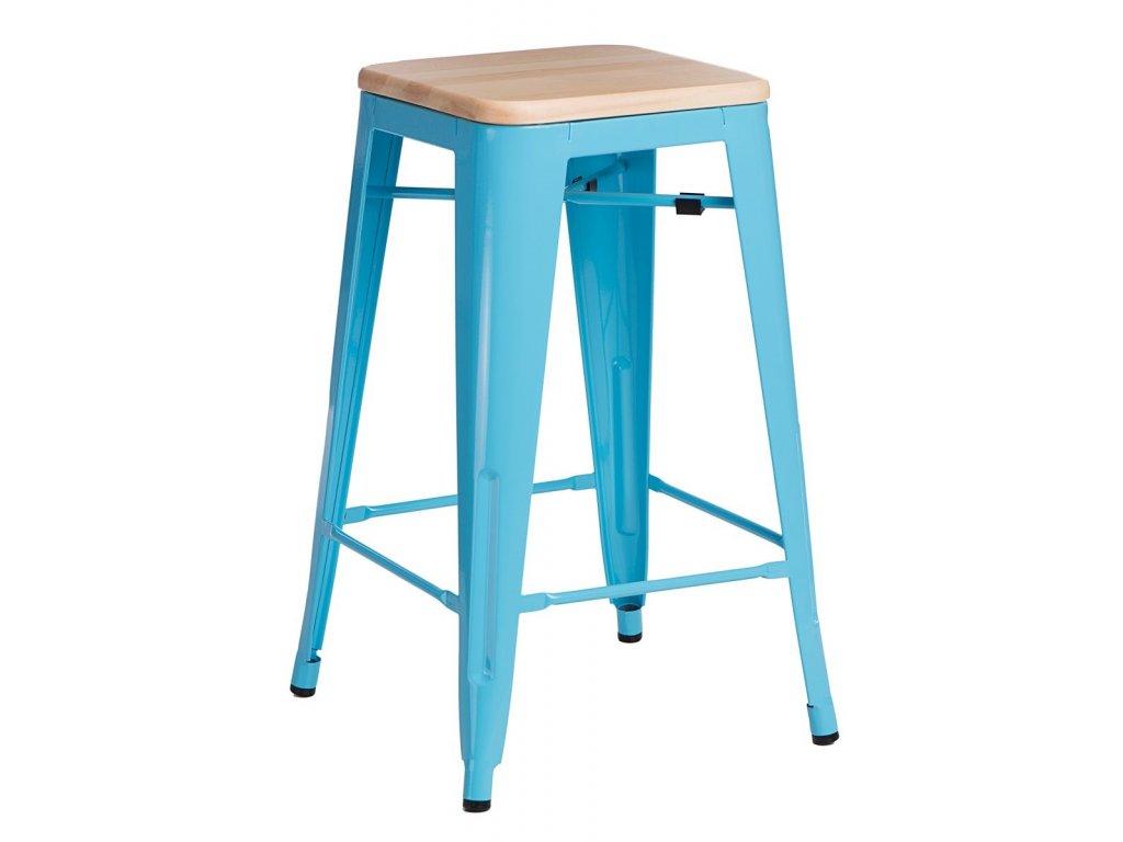 Designová modrá barová židle Tolix 75 s dřevěným borovicovým sedákem