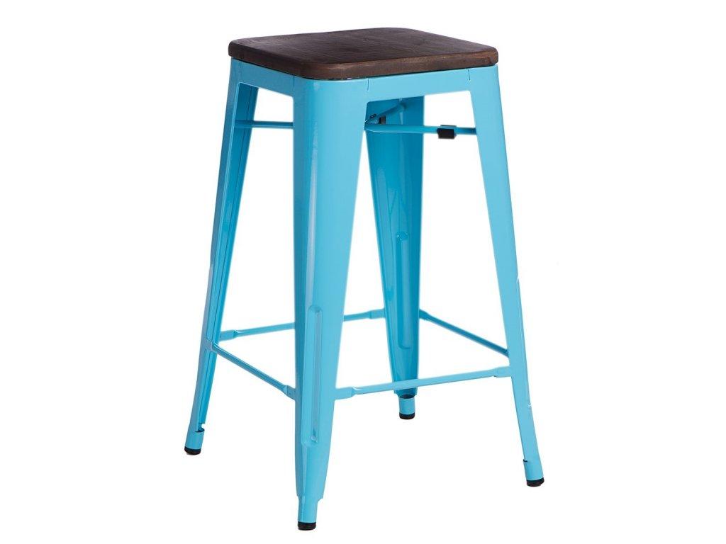 Stylová modrá barová židle Tolix 75 s ořechovým sedákem