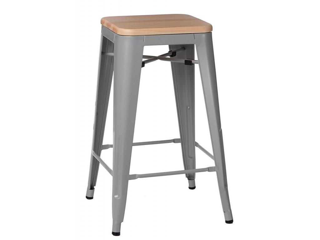 Designová kovová barová židle Tolix 75 s kovovou konstrukcí a dřevěným sedákem