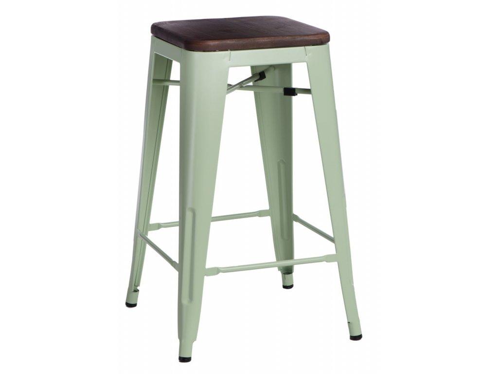 Designová zelená barová židle tolix s dřevěným sedákem a kovovou konstrukcí