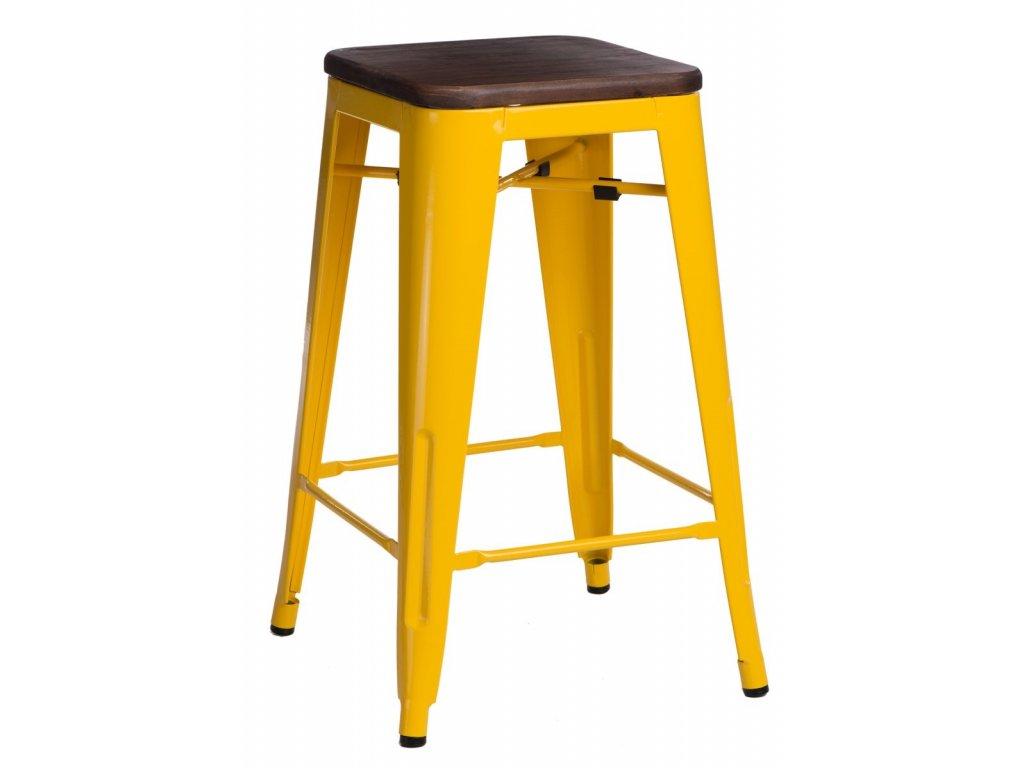 Žlutá kovová barová židle Tolix s ořechovým sedákem 75 cm