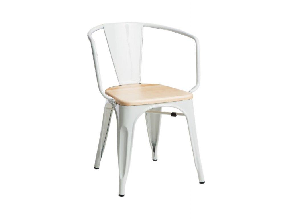 Bílá kovová jídelní židle Tolix s borovicovým sedákem a područkami