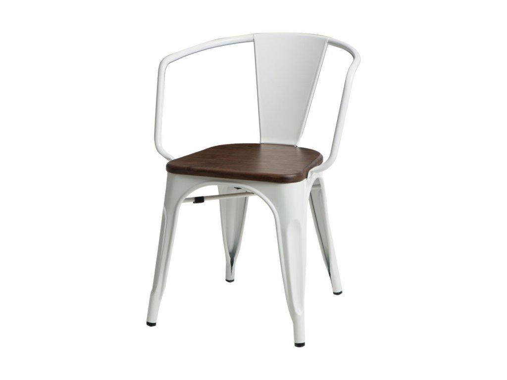 Jídelní židle Tolix 45 s područkami, bílá/ořech