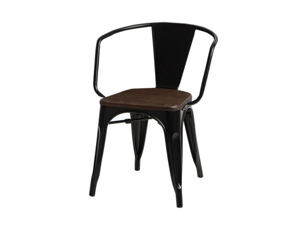 Jídelní židle Tolix 45 s područkami, černá/ořech