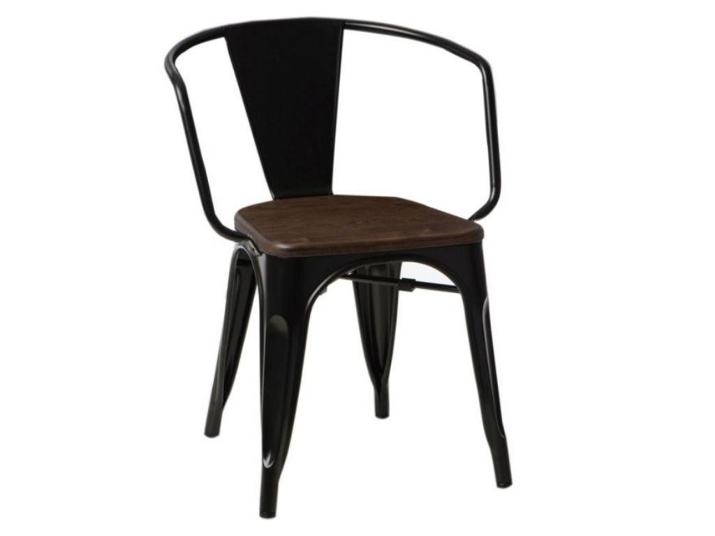 Černá kovová jídelní židle Tolix s tmavým borovicovým sedákem a područkami
