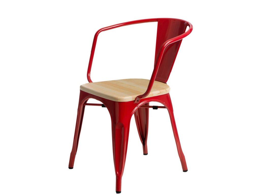 Jídelní židle Tolix 45 s područkami, červená/borovice