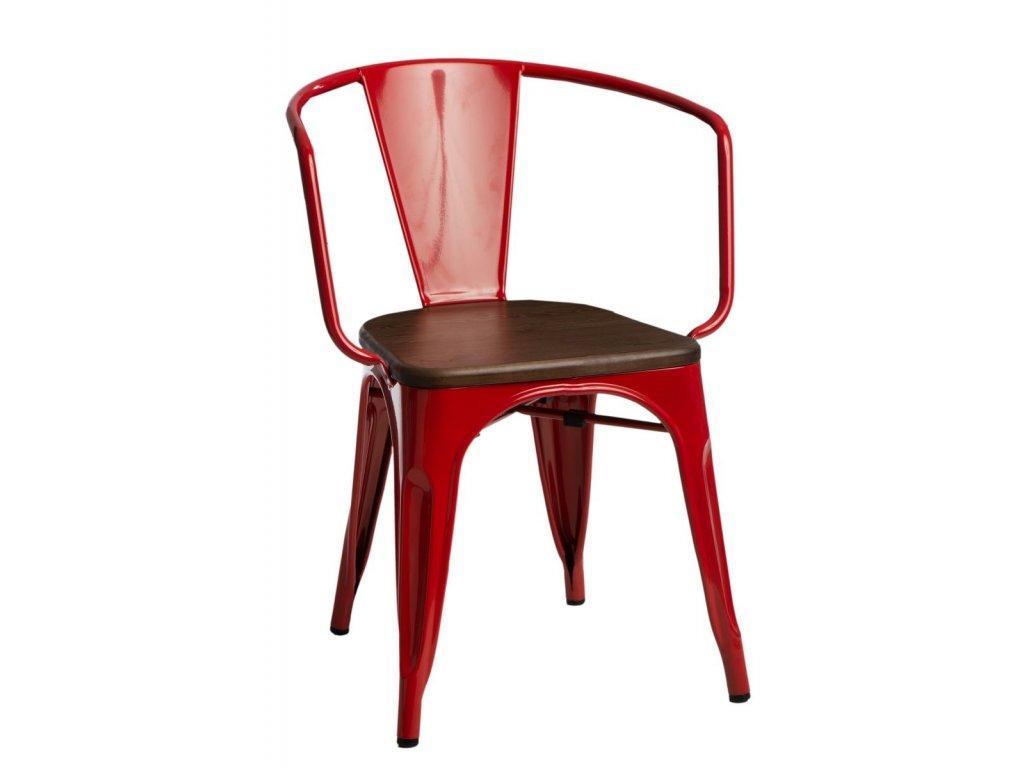 Červená kovová jídelní židle Tolix s tmavým borovicovým sedákem a područkami