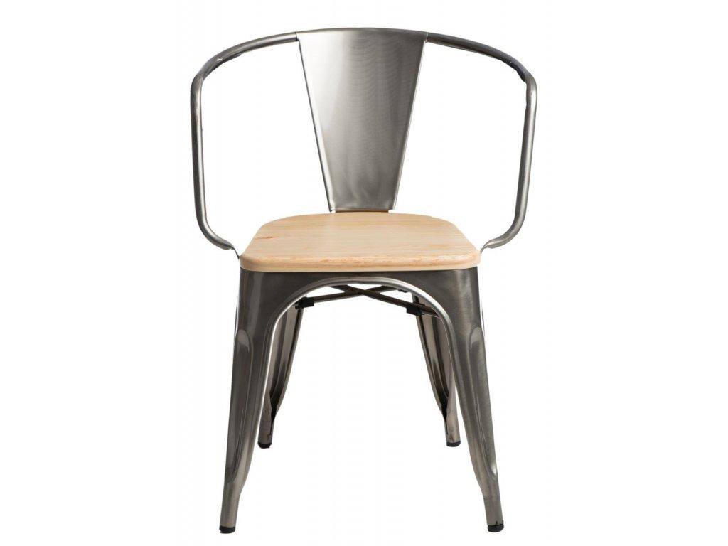 Jídelní židle Tolix 45 s područkami, metalická/borovice