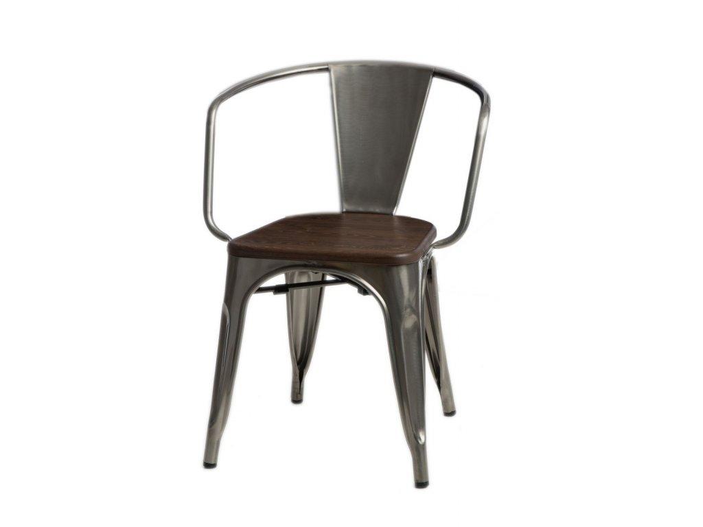 Jídelní židle Tolix 45 s područkami, metalická/ořech