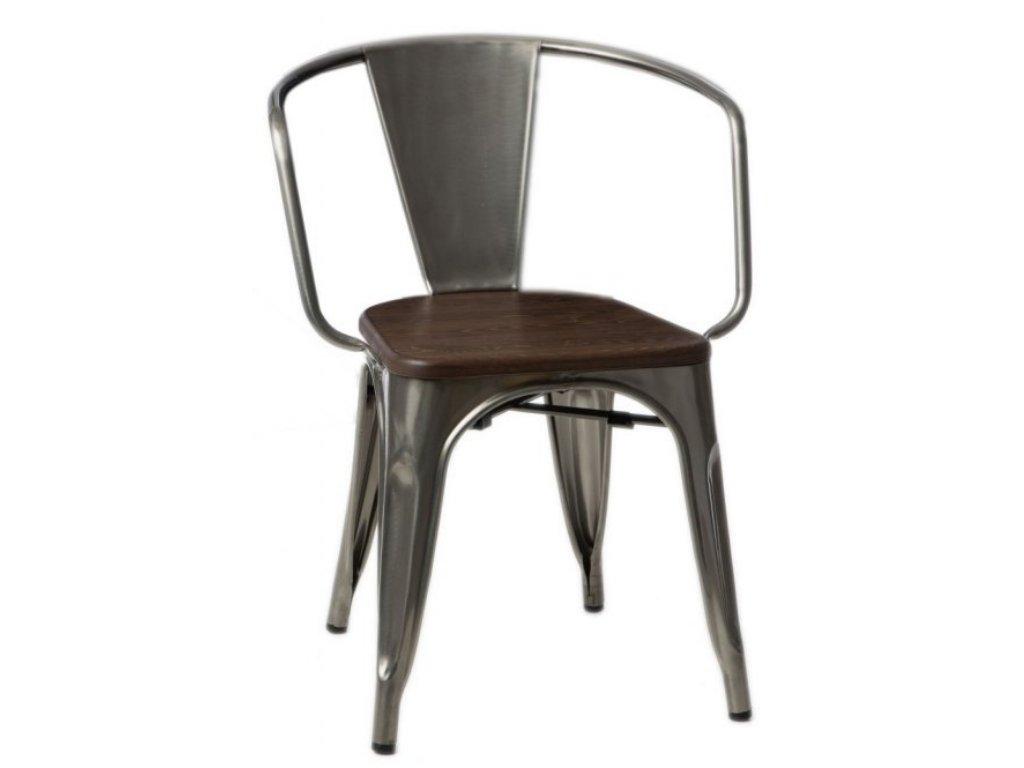 Stříbrná metalická kovová jídelní židle Tolix s tmavým borovicovým sedákem a područkami