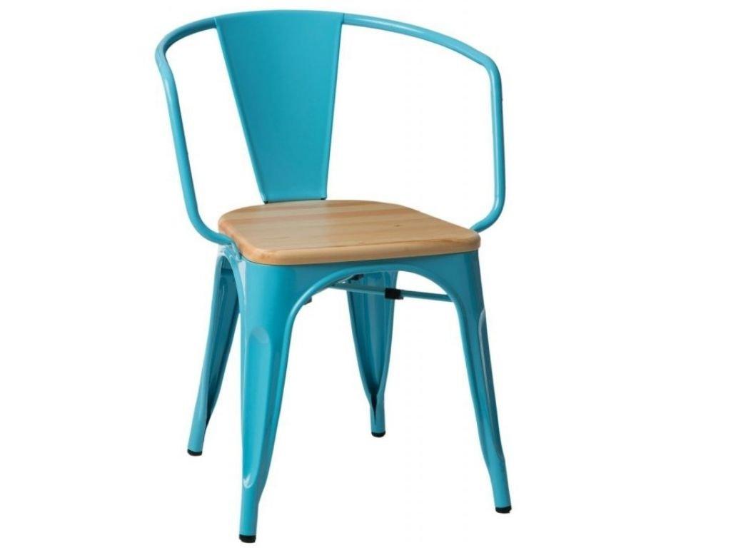 Modrá kovová jídelní židle Tolix s borovicovým sedákem a područkami