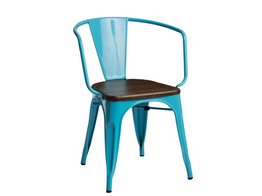 Modrá kovová jídelní židle Tolix s tmavým borovicovým sedákem a područkami