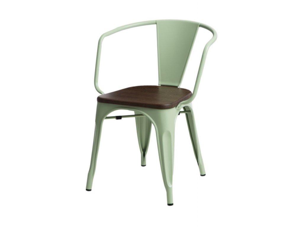Jídelní židle Tolix 45 s područkami, sv. zelená/ořech