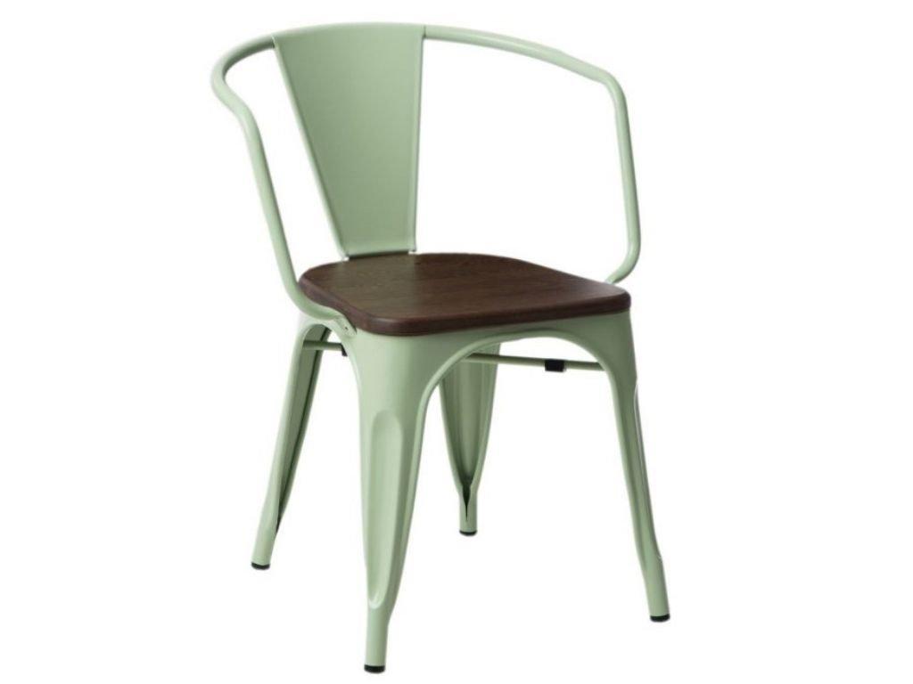 Zelená kovová jídelní židle Tolix s tmavým borovicovým sedákem a područkami