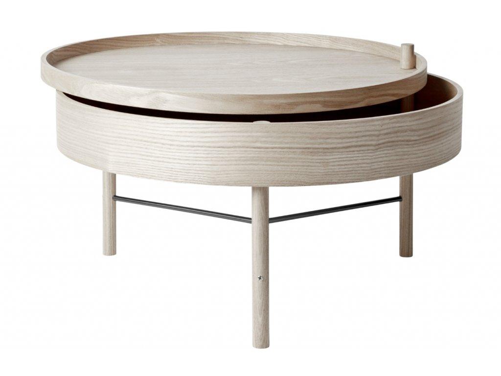 Bíle bělený dubový konferenční stolek MENU TURNING 65 cm