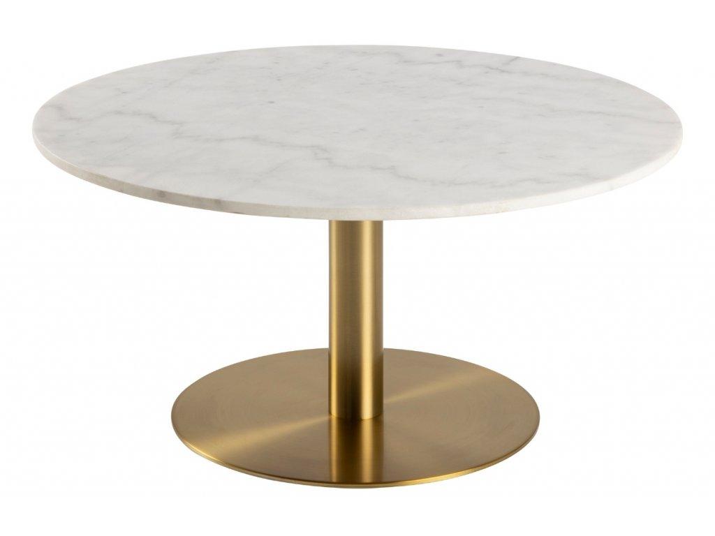 Bílý mramorový konferenční stolek Aron 90 cm se zlatou kartáčovanou podnoží