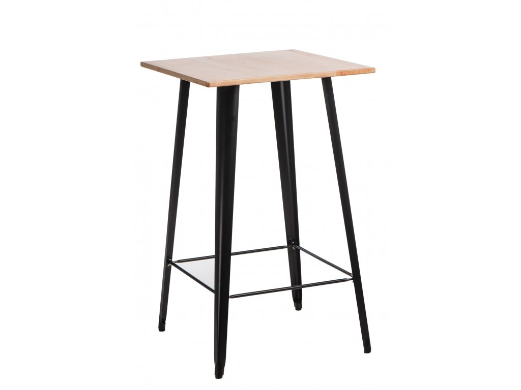 Černý kovový barový stůl Tolix s jasanovou deskou