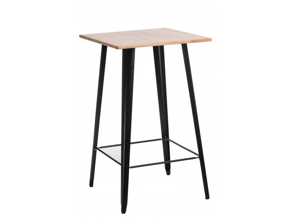 Designový černý barový stůl Tolix z kovu a s borovicovou deskou